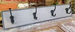 Grey and Dark Blue Painted Wooden 4 Hook Coatrack