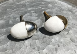Gold or Silver Capped Marble Style Stone Drawer Knobs