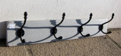Grey Painted Coatrack with Four Double Black Acorn Hooks