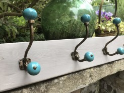 Taupe Coatrack with Brass and Turquoise Ceramic hooks