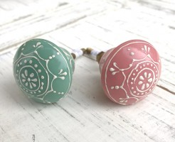 Pink and Green Henna Pattern Knobs