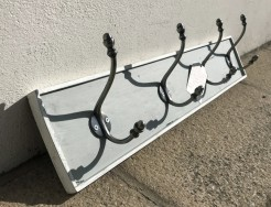 Shutter Grey and Sel de Mer Coatrack with Silver Acorn Hooks