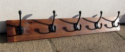 Wooden Coatrack with 5 Black Double Rustic Hooks