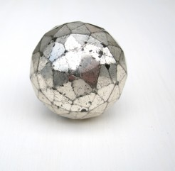 Antique Silver Glitter Ball Style Crystal Knob