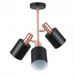 Black and Copper Triple Ceiling Light