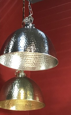 Silver Nickel Hammered Dome Ceiling Pendant