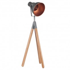 Grey and Copper Tripod Light with Bamboo Legs