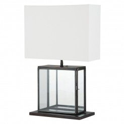 Black Metal and Glass Square Lamp