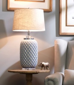 Large Blue Pineapple Style Lamp With Shade