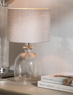 Dimple Glass Based Lamp with Tweed Shade
