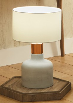 Concrete Base Lamp with Copper Band and Shade