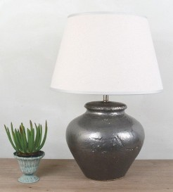 Dark Silver Glazed Ceramic Lamp With Off White Linen Look Shade