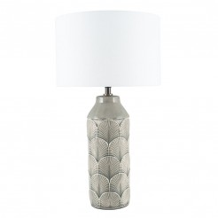 Grey Scallop Art Deco Style Ceramic Lamp and Shade