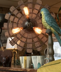 Three bulb radial upcycled lamp