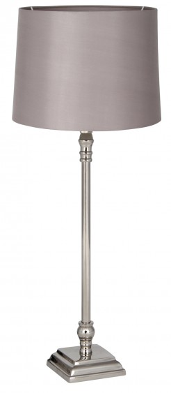 Square Based Stick Silver Lamp With Shade