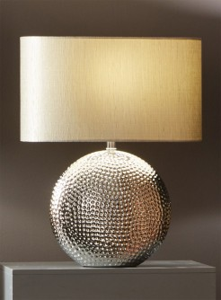 Silver Dimple Flat Disc Lamp with Oval Shade
