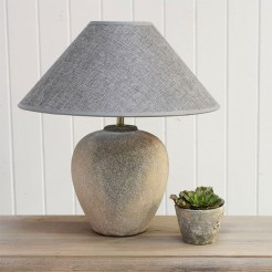 Ceramic Stone Effect Lamp with Grey Shade