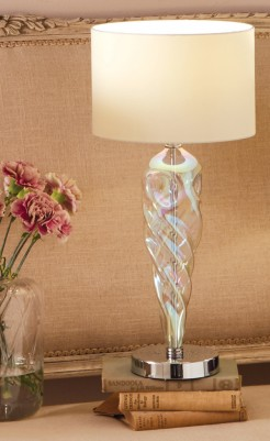 Twisted Iridescent Glass Table Lamp With Shade
