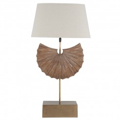 Handcrafted Wooden Shell Lamp Base and Oval Shade