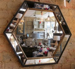 Black and Gold Hexagon Mirror