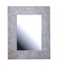 Embossed Grey Metal Mirror