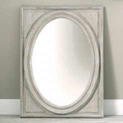 Rustic Grey Painted Oblong Wooden Mirror with Oval Centre