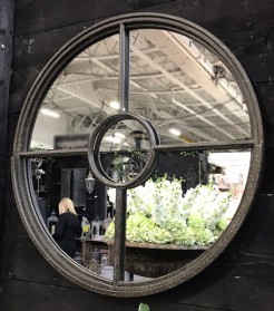 Round Stepped Frame Metal Mirror