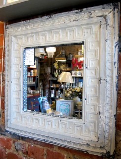 Square Up-cycled Metal Tile Mirror