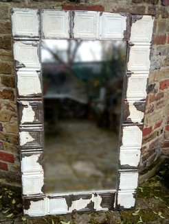 Metal Upcycled Ceiling Tiles Mirror