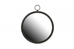 Industrial Feel Round Metal Studded Mirror