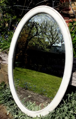 Up-cycled Oval White Painted Antique Mirror
