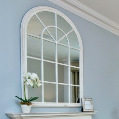 White Arch Top Panelled Mirror