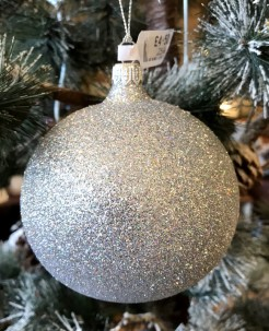 Silver Glitter Large Bauble