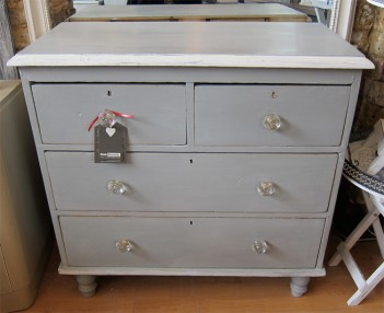 Grey Painted Victorian Pine Chest Of Drawers