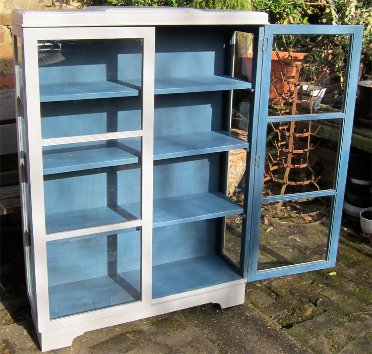 Grey And Blue Painted Antique Bookcase