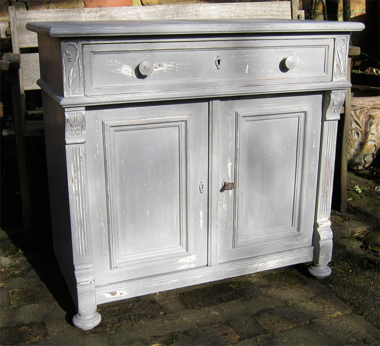 Grey painted antique pine and oak sideboard for Pine sideboard ikea