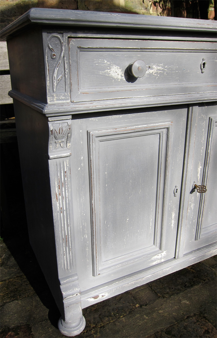Grey Painted Antique Pine And Oak Sideboard