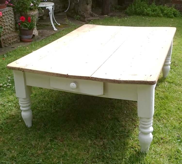 Victorian Pine Coffee Table: Victorian (circa Late 1800's) Scrub Top Pine Coffee Table