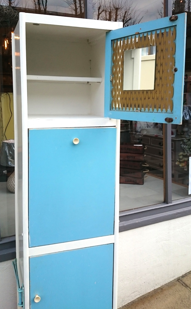 Slim Tall 1950s 1960s Retro Kitchen Cupboard Blue And White