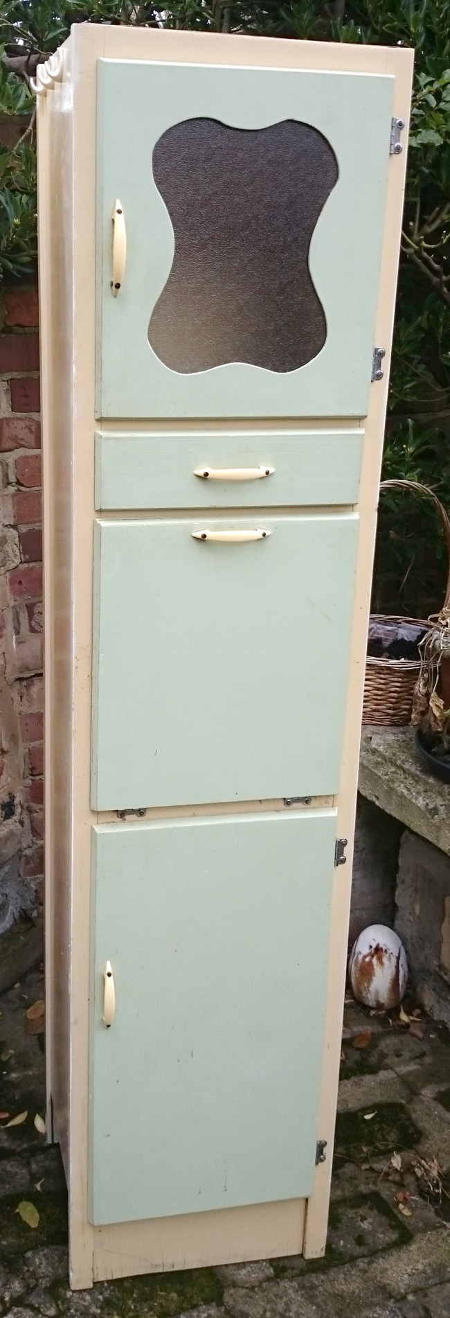 Slim Tall 1950s 1960s Retro Kitchen Cupboard Mint and Yellow