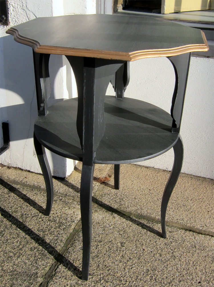 Black Painted Fluted Edged Edwardian Side Table