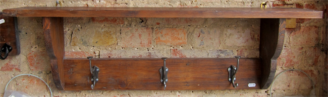 wood finish suffolk coat rack