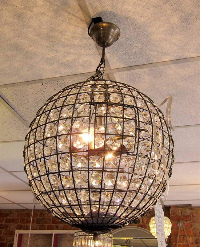 Lcldirtygoldsparkleglobelightg beautiful glass and metal large ball electric pendant takes two bulbs max 40w each the metal is a dull brushed gold colour with circular glass design aloadofball Gallery